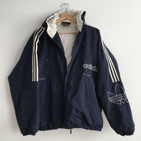 348b08272 Adidas Men 90s Vintage Quilted Navy Puffer Jacket